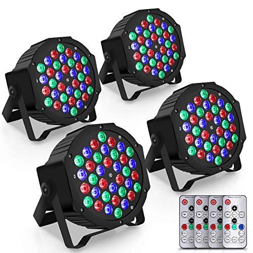4pcs Dj Par Lights Set - DMX, 40W 36 RGB LED Stage Projector Lights Package w/ Sound Sync, Master-Slave Mode - Professional Party Nightclub Lights Uplighting Lights for Events - Pyle PLDJLT44