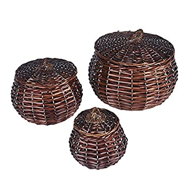 Household Essentials ML-2229 3 Piece Set Round Willow Wicker Decorative Storage Baskets, Dark Brown