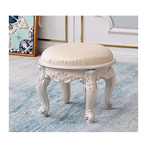 MJIA Footstool Vanity Stool, Padded Bench Makeup Stool Baroque Chair, Change Shoes Bench Solid Wood Legs Bedroom Dressing Room Living Room Restaurant (Color : Silver, Size : 03)