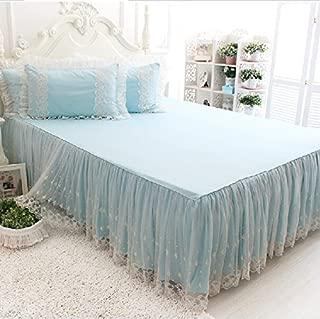 Brandream Romantic Girls White Lace Bed Skirt Fancy Blue Bed Skirts Korean Princess Style Sheets Set Pillow Case