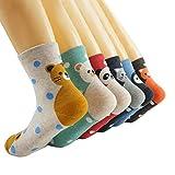 Oneworld Damen Frauen Mädchen 6 Paar/Halb Dozen lieblich Classic Casual Socken Damensocken Sportsocken Strumpf Cartoon Eule, 6139-6 Paar-farbmix4, 35/40