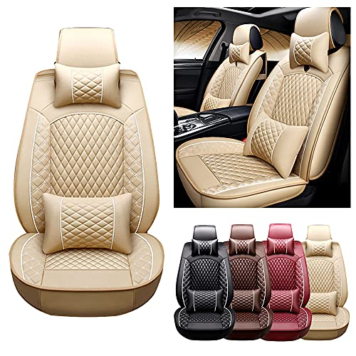 Muchkey Luxury Car Seat Covers for Nissan 370Z 2010-2016 5-Seats Full Set & Pillow Leather Automotive Vehicle Cushion Cover, Waterproof Leather Seat Protectors MH41 Beige