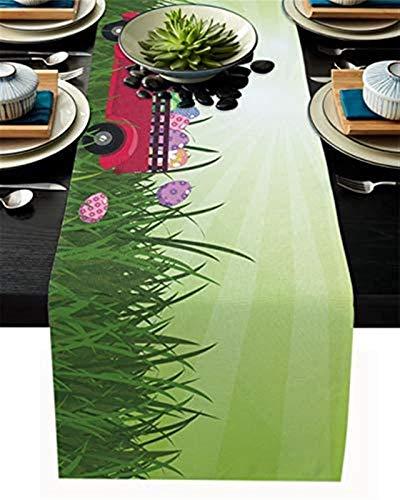 Camino de mesa de cocina de arpillera,feliz conejo de Pascua en camión con huevos coloridos en verde hierba sol camino de mesa antideslizante para cenar a diario,ocasiones especiales,cenas,33x274cm