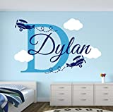 Personalized Name Airplanes Wall Decal - Boy Name Wall Decal Kids Room Decor - Clouds Wall Decal Nursery Decor (30Wx20H)