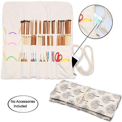 Teamoy Rollentasche für Zubehör von Häkelhaken Set wie stricknade, Bambus Nadel,Häkelnadel und Rundstricknadeln, (Nicht mehr als 14 Zoll)-Kein Zubehör im Lieferumfang enthalten, Baum