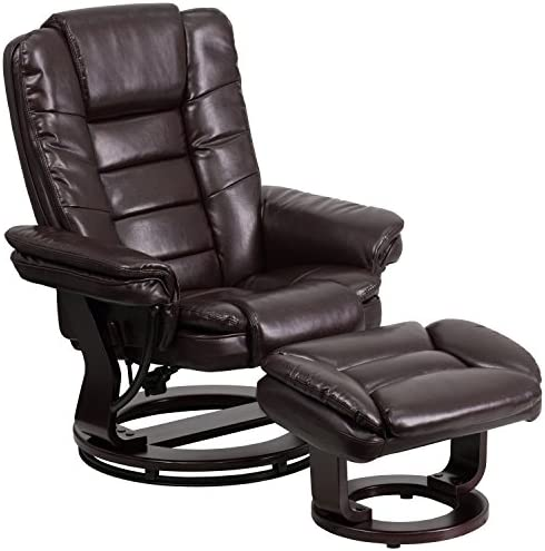 Best Flash Furniture Contemporary Multi-Position Recliner with Horizontal Stitching and Ottoman with Swiv