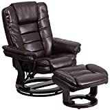 Flash Furniture Contemporary Multi-Position Recliner with Horizontal Stitching and Ottoman with Swivel Mahogany Wood Base in Brown Leather