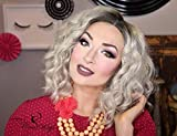 Cosswigs Ombre Platinum Blonde Wig Realistic Looking Soft Curly Wavy Bob Synthetic Lace Front Wigs Glueless Dark Roots Heat Resistant Hair 14inches