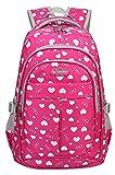 Girls Heart-shaped Print Backpack Daypack for Junior High School(B Rose,18L)