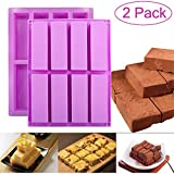 DIFENLUN Silicone Granola Bar Mold, 2 Pack 8-Cavity Rectangular Nutrition/Cereal/Energy Bar Maker Molds for Chocolate Truffles Ganache Bread Brownie Cornbread Cheesecake Pudding Butter Mould