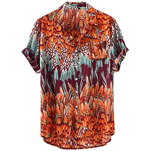 ZEELIY Herren Sommer Baumwolle Hemd Kurzarm Hawaiihemd Hawaiishirt Hemd Urlaub Hawaii-Print DunkelFeder Button Down Freizeithemden Hawaii Strand Hemd Männer M-XXXXL