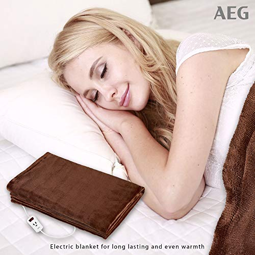 AEG WZD 5648 värmeskydd för långvarig och jämn värme, justerbar timer (1–9 timmar), elektronisk temperaturreglering, 10 temperaturnivåer, maskintvättbar, ca 130 x 180 cm