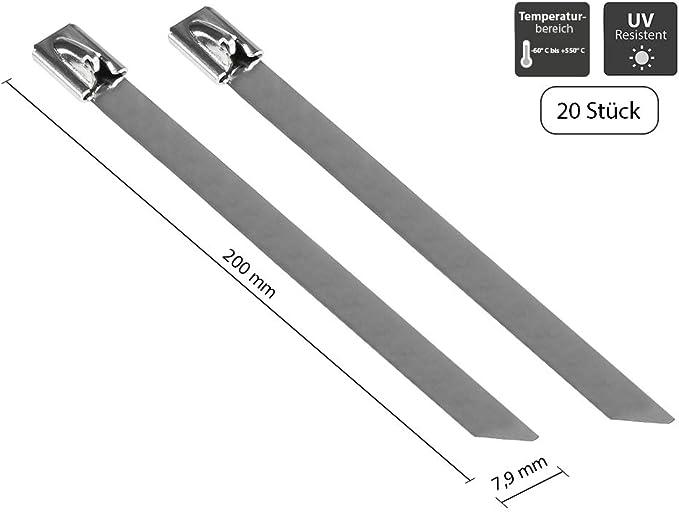Good Connections Edelstahl Kabelbinder 150 Mm X 7 9 Mm 20er Set Stück Uv Resistent Witterungsbeständig Für Den Außenbereich 60 C Bis 550 C Zugfestigkeit Bis 100 Kg Kab E15x79 Baumarkt
