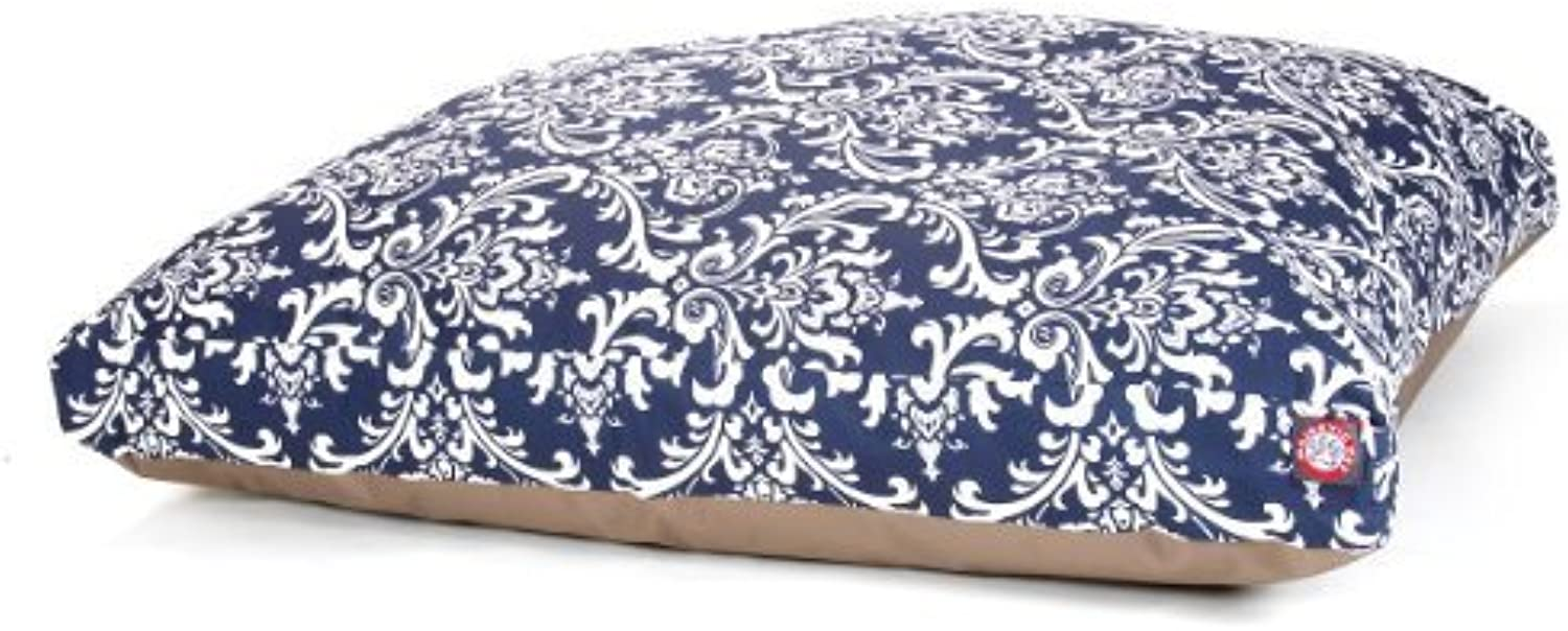 Majestic Pet Navy bluee French Rectangle Pet Bed, Quarter Large by Majestic Pet Products, Inc.