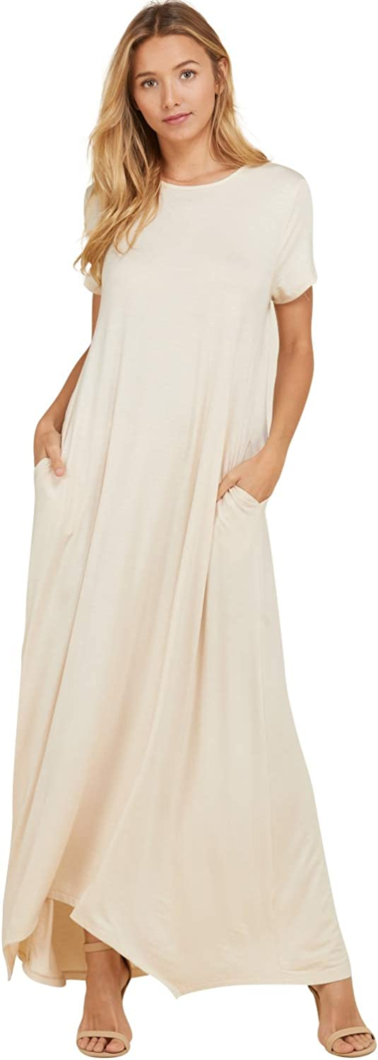 Annabelle Women's Comfy Short Sleeve Loose Fit Round Neck Casual Maxi Dresses Pockets