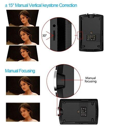 Vamvo Projector 1800 Lumens 1080P Mini Portable LED Projector Support Laptop/Smartphone/iPad/TV by HDMI/VGA/SD/USB/AV Input