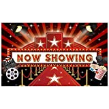 Allenjoy 5x3ft Now Showing Red Carpet Backdrop Supplies for Movie Night Party Decorations Customizable Hollywood Theatre Photography Background Birthday Studio Portrait Pictures Shoot Props Banners