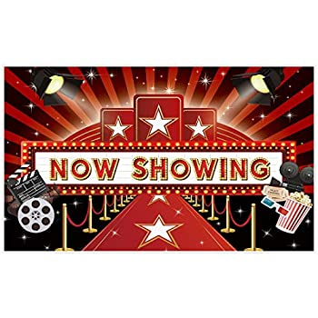 Allenjoy 5x3ft Now Showing Red Carpet Backdrop Supplies for Movie Night Party Decorations Customizable Theatre Photography Background Birthday Studio Portrait Pictures Shoot Props Banners