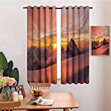 N / A Cortinas de Dormitorio Blackout Shades Mountain Sunrise en los Alpes suizos con una Vista mágica de la montaña Paraíso Natural Theme White and Yellow Print Dormitorio Decoración Blackout Shades