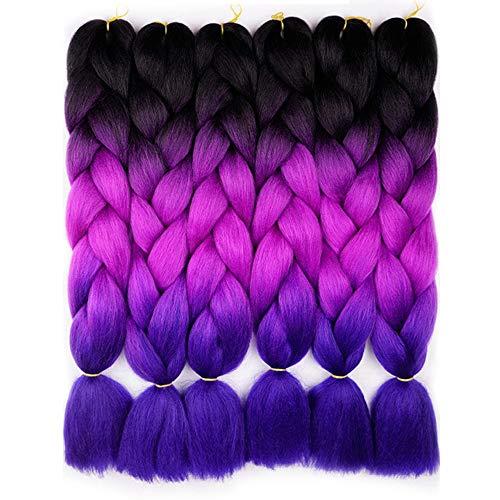 6 Pcs Braiding Hair Purple To Blue Ombre Braiding Hair Synthetic Hair Crochet Braids Kanekalon Fiber 24inch Jumbo Braids 100g Hair Extensions 3 Tone (Black to Purple to Blue)