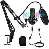 Micrófono de condensador USB para PC, kit de micrófono de estudio, 192 kHz/24 bits Plug & Play con doble capa filtro pop y soporte de micrófono para radiodifusión, grabación, juegos y YouTube