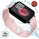 Smart Watch for Women for Android and iOS Phones, Elbees Store Waterproof Fitness Tracker with Heart Rate Monitor, Blood Pressure Monitor, Smartwatches for Men and kids(Pink)