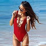 HLZJ Mujeres para la Ropa de Dormir Sexual Ropa Interior tentación Sexy Underwear Bikini Siamese Set Allure Deep V Siamese Erotic Underwear Set-Red_M