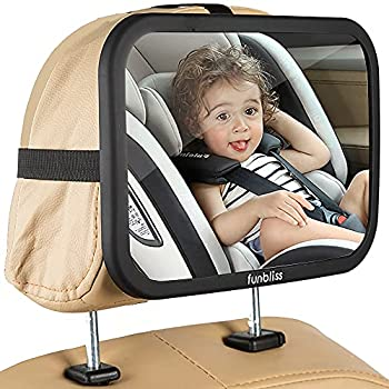 Baby Car Mirror Most Stable Backseat Mirror with Premium Matte Finish-Super Clear PMMA Material Mirror-Safe Secure and Shatterproof,Black