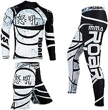 ROAR MMA Rash Guard & BJJ Grappling Shorts UFC Cross Training Gear No Gi Gym Wear (Small, Ninja-3Pcs-Set)