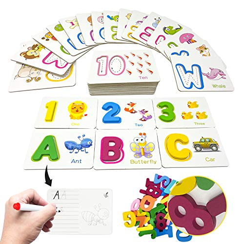 Alphabet Flash Cards Games with Wooden Number ABC Letters for Toddlers & Kids All Ages & Years Olds  Homeschool Educational Kindergarten Preschool Learning Animal Flashcards Toys Puzzle Materials