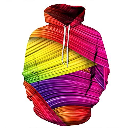 WXDSNH Visual Colorful Illusion Art Abstract 3D Impreso Pullover Sudadera Deportiva con Capucha Hombres Mujeres Sudadera Deportiva De Manga Larga