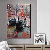 CYTTOU Resumen Graffiti Guantes de boxeo Pintura de lienzos Cuadros Pósteres Impresiones Arte de la pared para la sala de estar Decoración del hogar 16x24 Inch Sin marco