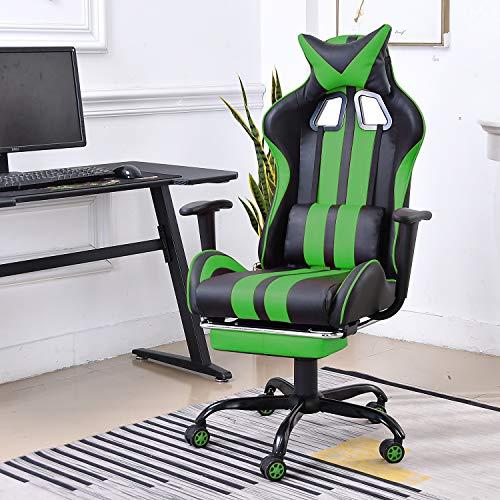 Soontrans Silla Gamer Silla de Oficina con Reposapies, Altura y Respaldo Ajustables, con Reposacabezas y Lumbares (Verde)