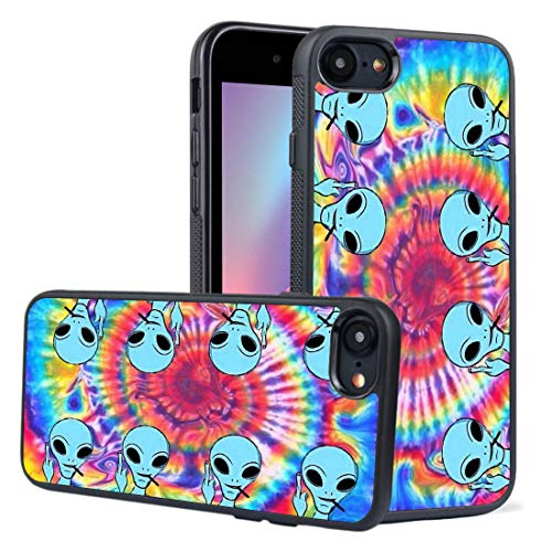 LEALIN iPhone 7 Case,iPhone 8 Case, Tie Dye Alien Antiskid Handle Black TPU Phone Case for iPhone 7,iPhone 8 Cover