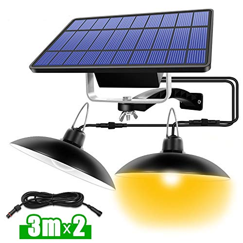 Wonepic Double Head Solar Pendant Light Solar Shed Lamp Powered IP65 Waterproof Lamp For Outdoor Indoor Shed Barn For Camping Home Garden Yard White light