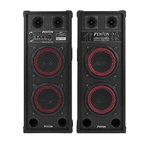 "2x Dual 8"" Active Speakers SD USB 800W"