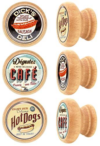 Lashuma, pomelli per mobili, rotondi, pomelli per cassetti. Materiale: legno. Set di 6 maniglie per comò in legno, Ø 4 cm, stile vintage