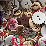 HONGYMY Botones Aleatorio Mezclado 25 g de árbol de Navidad patrón de Madera Botones Decorativos para Scrapbooking Costura de decoración artesanales