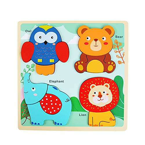 P12cheng Wooden Jigsaw Puzzles for Toddlers, Colorful Animal Puzzle Jigsaw Set Early Learning Baby Kids Educational Toys Gifts for 1-3 Year Old Boys Girls Children B