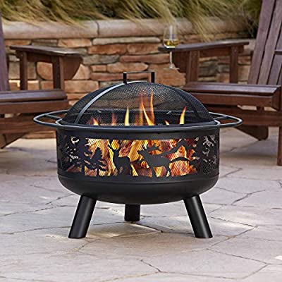 "John Timberland Yukon Rustic Black Fire Pit Round 30"" Animal Cut Steel Wood Burning with Spark Screen and Fire Poker for Outside Backyard Patio Camping Deck"