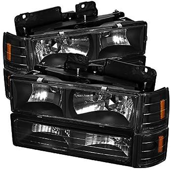 Carpartsinnovate For 94-99 GMC C10 C/K 1500 2500 Yukon Sierra Black Headlights+Bumper Corner Lamps