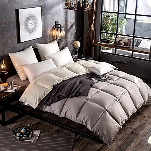 Hahaemall Goose Down Double Duvet All Season Duvet Luxurious Goose Duvet - Down Proof Fabric - Anti Allergen - Classic - Duvet Quilt-gray_150x200cm-1.5kg
