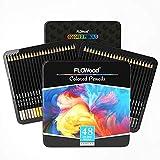 48 lápices de colores para artistas, FLOWood Art Supplies, lápices de colores profesionales de punta suave para adultos, ideales para caminar, esbozar, colorear y sombrear en caja de hierro