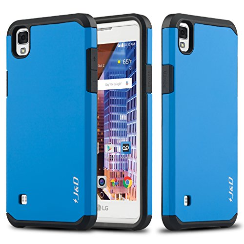 J&D Case Compatible for LG Tribute HD Case, Heavy Duty [Dual Layer] Hybrid Shock Proof Protective Rugged Bumper Case for LG Tribute HD Case - Blue