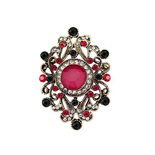Puissance Ferhd Vieux Style Vintage Bijoux Classique Strass Fleur Plaqué Or Strass Broche Broches Femme Lady