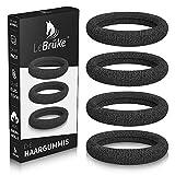 Lebrüke® 50 Haargummis Schwarz - Premium Gummibänder Haarbänder - elastisch und aus Baumwolle - Gummibänder für Frauen und Mädchen Dutt - Haargummi Haarband Pferdeschwanz Gummi