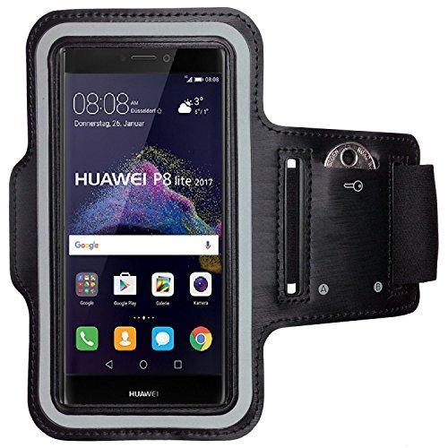 CoverKingz Huawei P8 Lite 2017 Brazalete Deportivo Negro Fitness de móvil para Correr con Llave Inglesa Compartimento para Llaves de Unidad móvil de Bolsillo - Aptitud móvil Deporte Pulsera