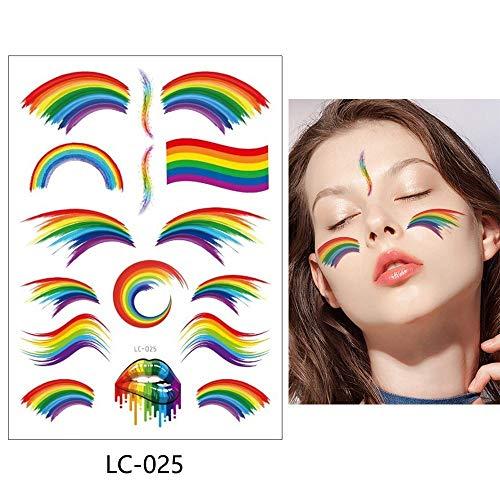 3 Piezas Etiqueta engomada del Tatuaje Temporal Falso Tatuaje Arco Iris Tatto Arte Impermeable 15x21 cm