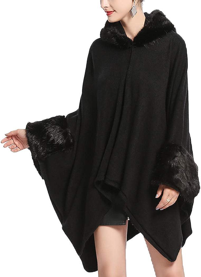 Alovemi Women's Batwing Sleeve Woolen Faux Fur Hooded Cape Coat Loose Cape