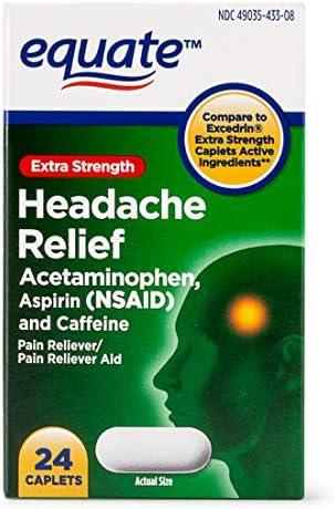 Equate Extra Strength Headache Relief Acetaminophen Aspirin Caffeine 24 Caplets product image